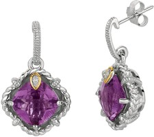 Phillip Gavriel - 0.02ct Diamond & Amethyst 18K Yellow Gold & Sterling Silver Drop Earrings
