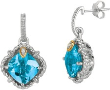 Phillip Gavriel - 0.02ct Diamond & Blue Topaz 18K Yellow Gold & Sterling Silver Drop Earrings