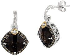 Phillip Gavriel - 0.44ct. Coffee Diamond & Smoky Quartz 18K Yellow Gold & Sterling Silver Rock Candy Earrings