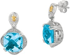 Phillip Gavriel - 0.12ctw. Diamond & Blue Topaz 18K Yellow Gold & Sterling Silver Rock Drop Candy Earrings
