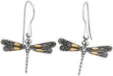 Phillip Gavriel - 18K Yellow Gold & Sterling Silver Oxidized Single Dragonfly Drop Earrings