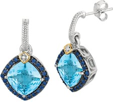 Phillip Gavriel - 0.44ctw. Diamond & Blue Topaz & Iolite 18K Yellow Gold & Sterling Silver Rock Candy Earrings