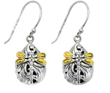 Phillip Gavriel - 18K Yellow Gold & Sterling Silver Rhodium Finish Shiny Small Teardrop Shape Drop Earrings w/ Dragonfly
