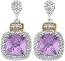 Phillip Gavriel - 18K Yellow Gold & Silver w/ Rhodium Finish Drop Earrings w/ 2-10.0 Square Amethyst & 6-0.01ct Faceted White Diamonds