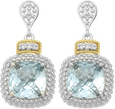 Phillip Gavriel - 18K Yellow Gold & Silver w/ Rhodium Finish Drop Earrings w/ 2-10.0 Square Sky Blue Topaz & 6-0.01ct Faceted White Diamond