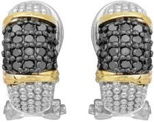 Phillip Gavriel - 18K Yellow Gold & Silver w/ Rhodium & Black Rhodium Finish French Back Earrings w/ 36-0.01ct Faceted Black Diamonds