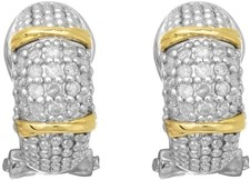Phillip Gavriel - 18K Yellow Gold & Silver w/ Rhodium Finish Shiny French Back Earrings w/ 36- 0.01ct Faceted White Diamonds