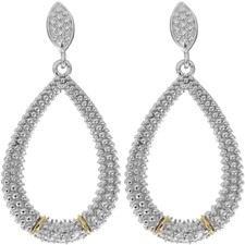 Phillip Gavriel - 18K Yellow Gold & Silver w/ Rhodium Finish Fancy Teardrop Earrings w/ 14-0.0 1ct Faceted White Diamonds