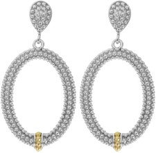 Phillip Gavriel - 18K Yellow Gold & Silver w/ Rhodium Finish Shiny Fancy Open Oval Drop Earrings
