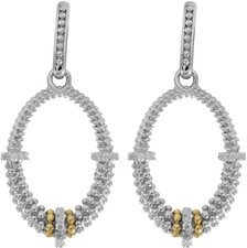 Phillip Gavriel - 18K Yellow Gold & Silver w/ Rhodium Finish Fancy Open Oval Drop Earrings wit h 34-0.01ct Faceted White Diamonds