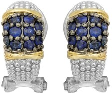 Phillip Gavriel - 18K Yellow Gold & Silver w/ Rhodium & Black Rhodium Finish Fancy French Back Earrings w/ 20-2.0 Rd. Blue Sapphires