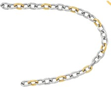 Phillip Gavriel - 18K Yellow Gold & Sterling Silver Ridged Oval Link 7.75