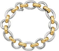 Phillip Gavriel - 18K Yellow Gold & Sterling Silver Alternating Large & Small Link 7.5
