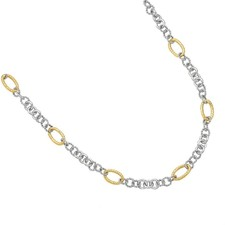 Phillip Gavriel - 18K Yellow Gold & Sterling Silver Round & Angled Oval Link 18