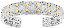 Phillip Gavriel - 18K Yellow Gold & Sterling Silver 14-17.2mm Fleur-De-Lis Rhodium Plated Diamond-Pattern Adjustable Graduated Cuff Bracelet
