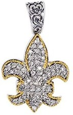 Phillip Gavriel - 0.45ctw. Diamond 18K Yellow Gold & Sterling Silver Fleur De Lis Pendant on 18