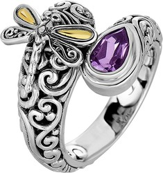 Phillip Gavriel - 18K Yellow Gold & Oxidized Sterling Silver Dragonfly Bypass Ring w/ 18-4.2mm Amethyst
