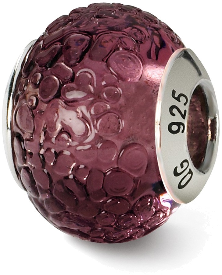 Sterling Silver Reflections Purple Italian Murano Bead