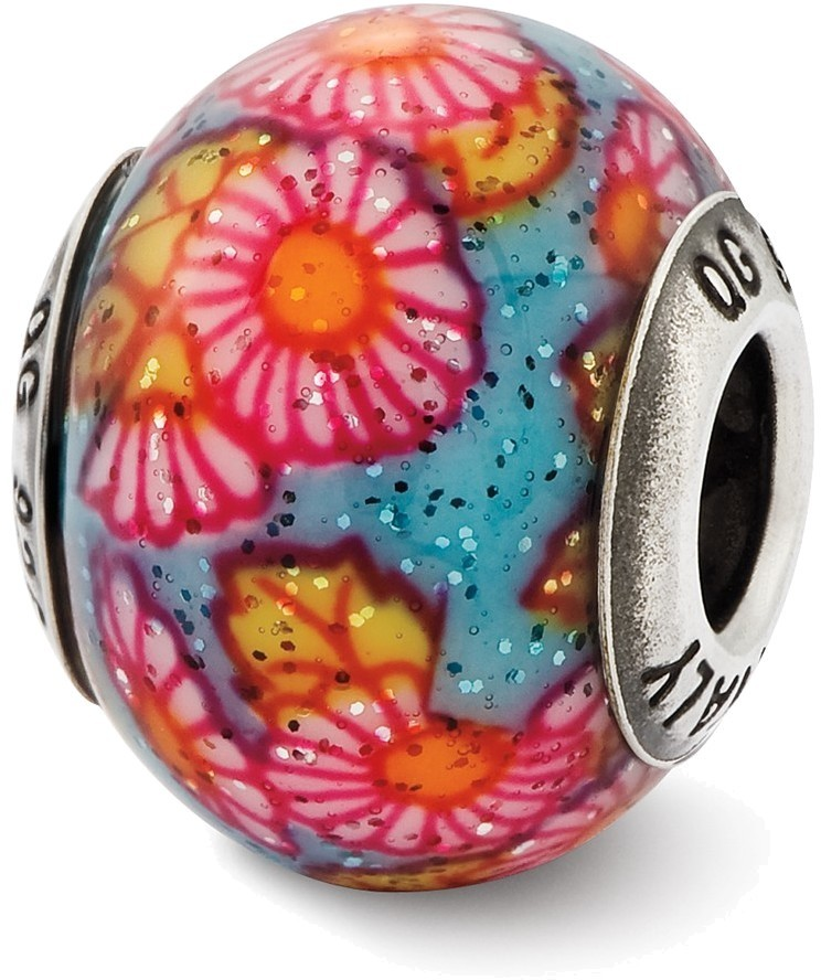 Sterling Silver Reflections Italian Multicolor Floral Overlay Glass Bead