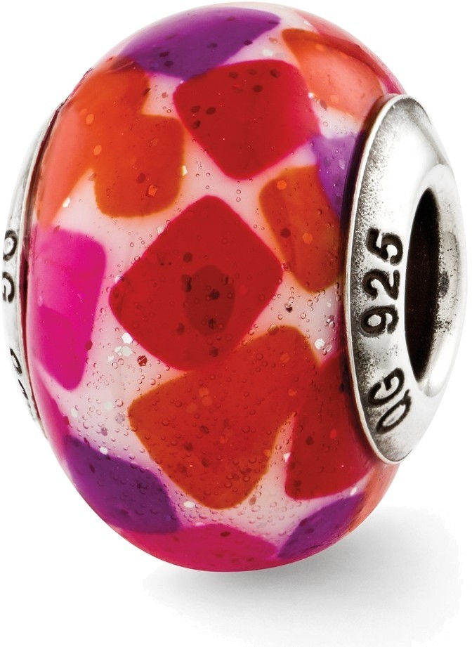 Sterling Silver Reflections Pink/Purple/Red Italian Murano Glass Bead