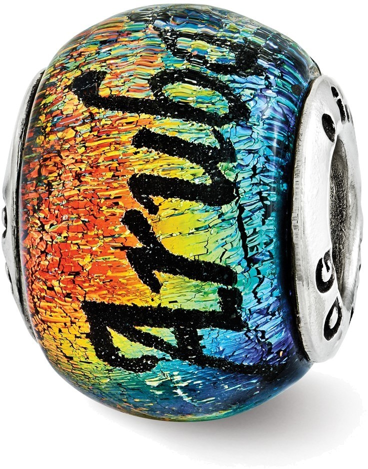 Sterling Silver Reflections Aruba Orange Dichroic Glass Bead