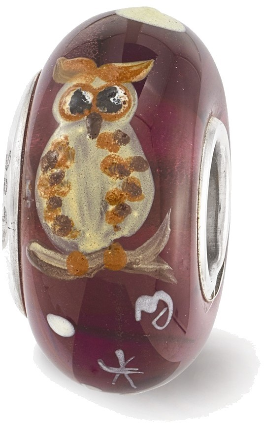 Sterling Silver Reflections Purple Hand Painted Owl Glass Bead