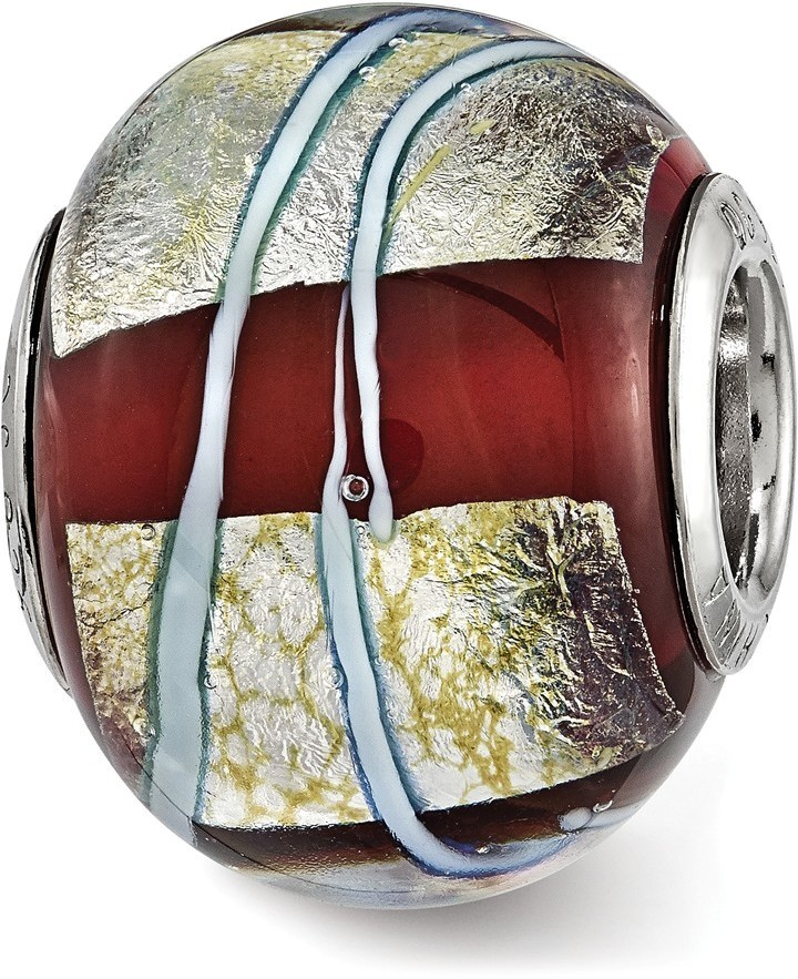 Sterling Silver Reflections Foil Striped Red Glass Bead