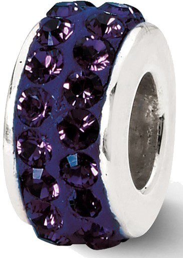 Sterling Silver Reflections Purple Double Row Swarovski Crystal Bead
