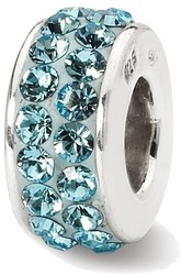 Sterling Silver Reflections March Double Row Swarovski Crystal Bead