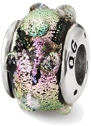 Sterling Silver Reflections Purple Dichroic Glass Bead QRS1466