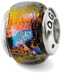 Sterling Silver Reflections Orange Dichroic Glass Bead QRS1468