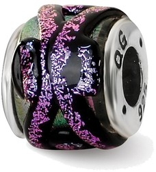 Sterling Silver Reflections Purple Dichroic Glass Bead QRS1478