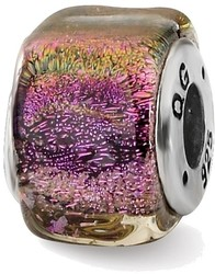 Sterling Silver Reflections Purple Dichroic Glass Square Bead