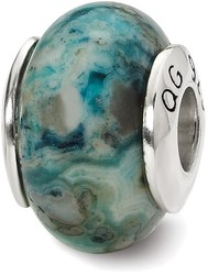 Sterling Silver Reflections Blue Crazy Lace Agate Stone Bead
