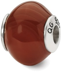 Sterling Silver Reflections Red Brown Agate Stone Bead