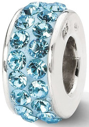 Sterling Silver Reflections Sky Blue Double Row Swarovski Crystal Bead