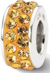Sterling Silver Reflections Orange Double Row Swarovski Crystal Bead