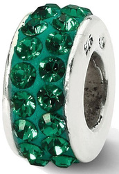 Sterling Silver Reflections Green Double Row Swarovski Crystal Bead QRS2006