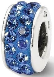 Sterling Silver Reflections Blue Double Row Swarovski Crystal Bead QRS2007