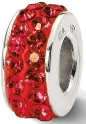 Sterling Silver Reflections Red Double Row Swarovski Crystal Bead