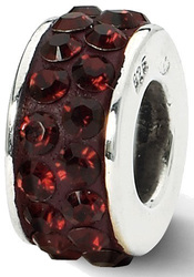 Sterling Silver Reflections Crimson Double Row Swarovski Crystal Bead