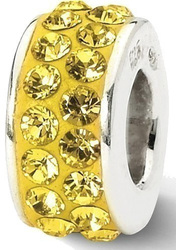 Sterling Silver Reflections Gold-tone Double Row Swarovski Crystal Bead