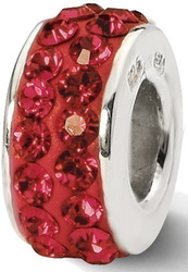 Sterling Silver Reflections Scarlet Double Row Swarovski Crystal Bead