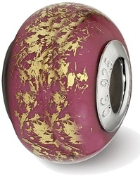 Sterling Silver Reflections Dark Pink w/Gold Foil Ceramic Bead