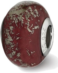 Sterling Silver Reflections Dark Red w/Platinum Foil Ceramic Bead