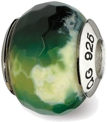 Sterling Silver Reflections Green Cracked Agate w/Shell Stone Bead QRS2348