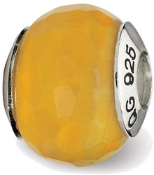 Sterling Silver Reflections Yellow Cracked Agate w/Shell Stone Bead