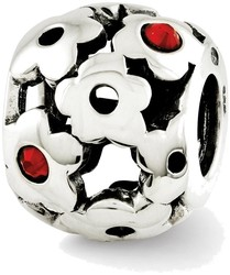 Sterling Silver Reflections Red Swarovski Crystal Flowers Bead