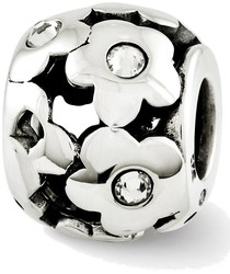 Sterling Silver Reflections Swarovski Crystal Flowers Bead