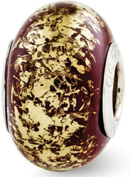 Sterling Silver Reflections Brown w/ Gold-tone Foil Ceramic Bead
